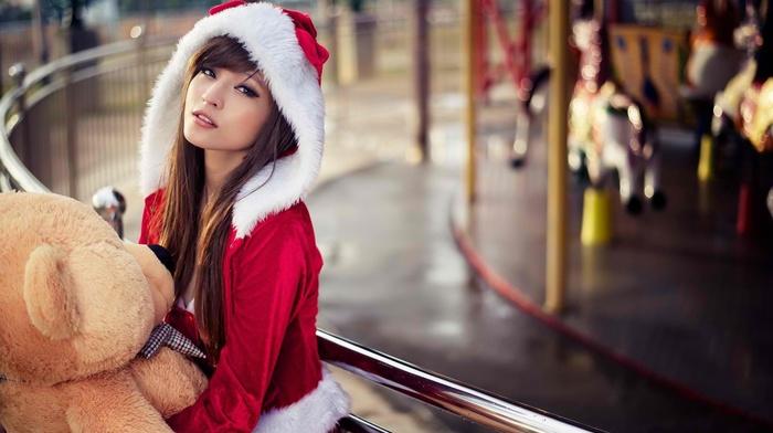 Santa costume, girl, model, long hair, Agnes Lim, Asian