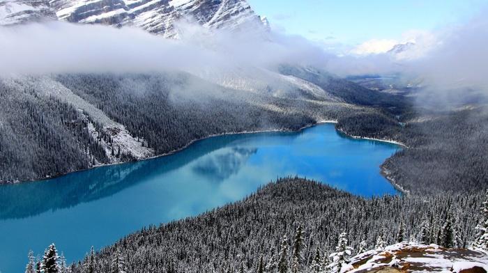 озеро, снег, горы