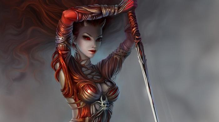 red eyes, demon, fantasy art