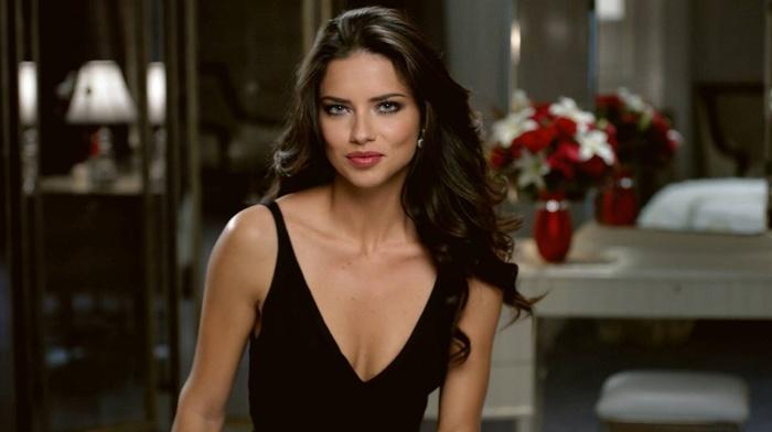 model, girl, Adriana Lima, blue eyes, black dress, brunette