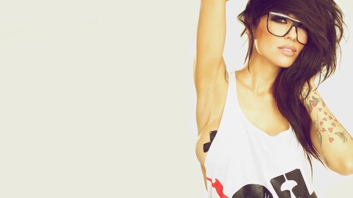 girl, girl with glasses, brunette, tattoo