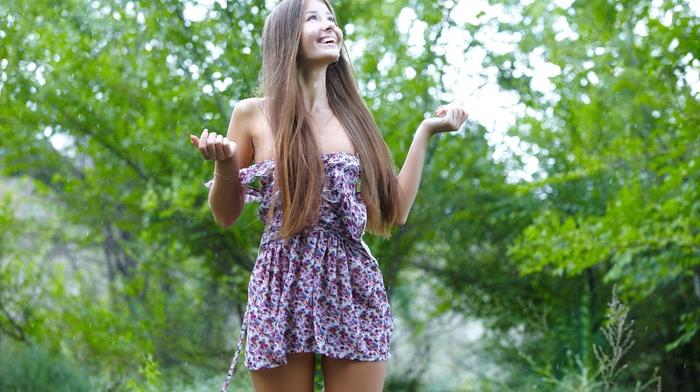 брюнетка, девушки на открытом воздухе, модель