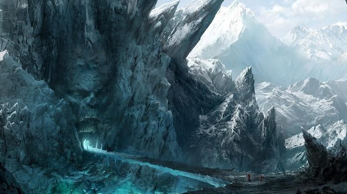 cave, winter, mountain, fantasy art