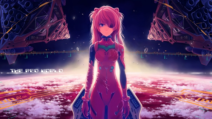 Neon Genesis Evangelion, anime girls, space, anime, Asuka Langley Soryu