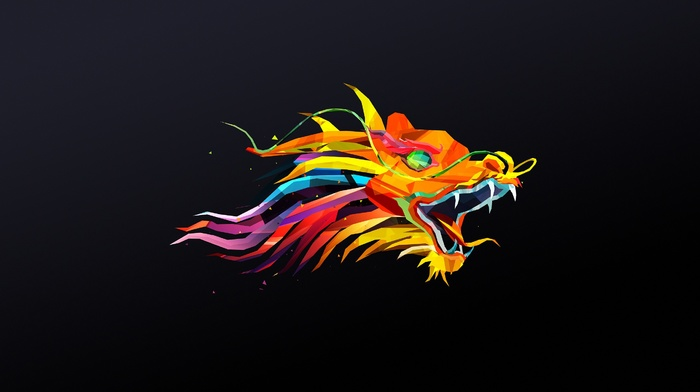 dragon, simple background, abstract, facets, Justin Maller
