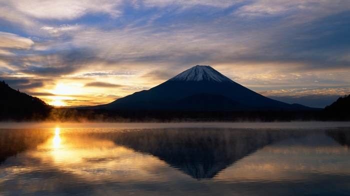 sunrise, water, reflection, mountain, Mount Fuji, Japan, landscape, sunlight