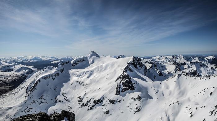 зима, снег, горы, Норвегия