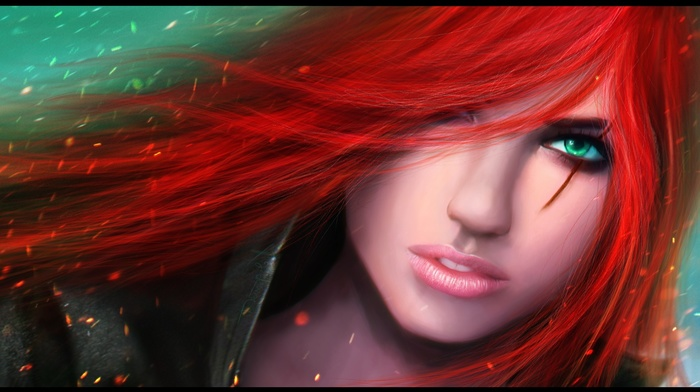 Katarina, render, redhead, hair in face, girl, League of Legends, fantasy art, green eyes