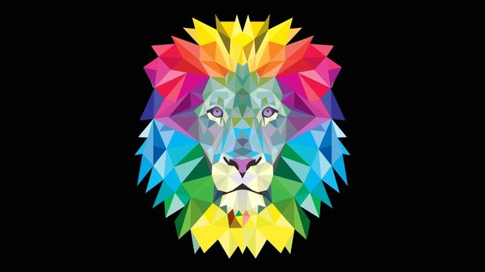 произведение искусства, лев, красочно, векторы