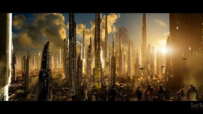 futuristic, city