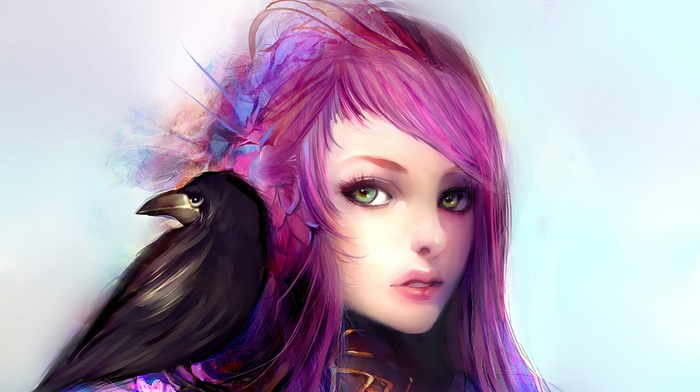 artwork, anime girls, crow, pink hair, anime