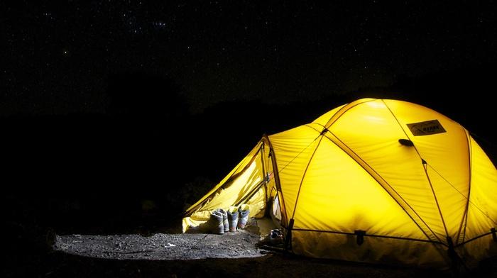 night, camping, stars
