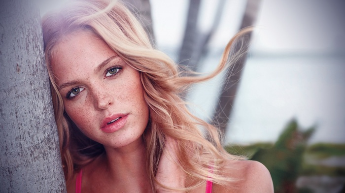 freckles, face, girl, blonde, green eyes, model, Erin Heatherton