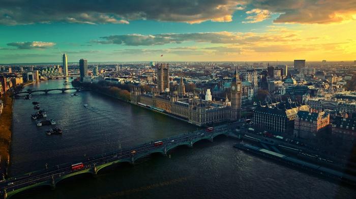 Лондон, городской пейзаж, здание, Англия, Великобритания