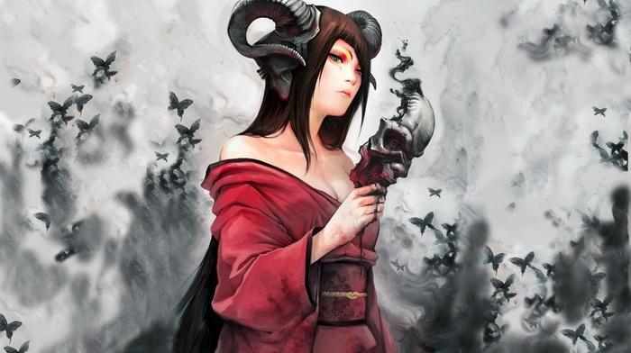 girl, horns, demon