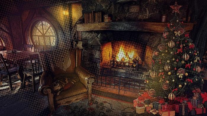 огонь, кот, огни, деревья