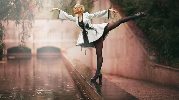 high heels, stockings, girl, rain
