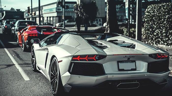car, Lamborghini, Lamborghini Aventador, red, white