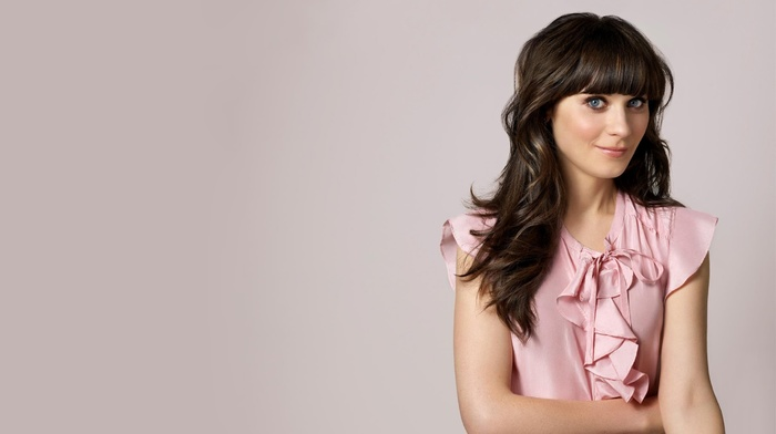 blue eyes, brunette, pink background, Zooey Deschanel, blouses, actress