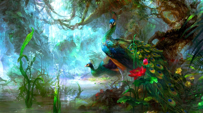 fantasy art, vines, birds, forest, peacocks