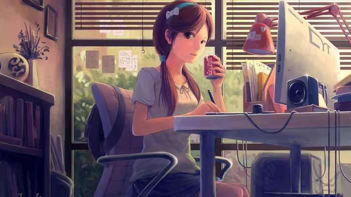 headband, brunette, computer, twintails, anime girls, brown eyes, original characters
