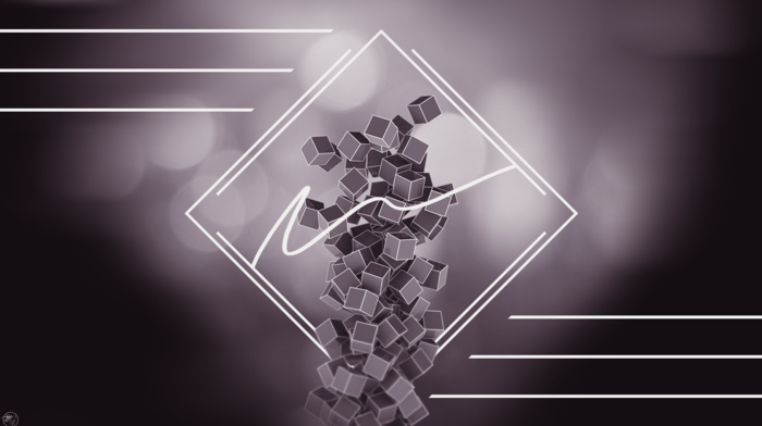 digital art, artwork, geometry, abstract, cube, lines, 3D