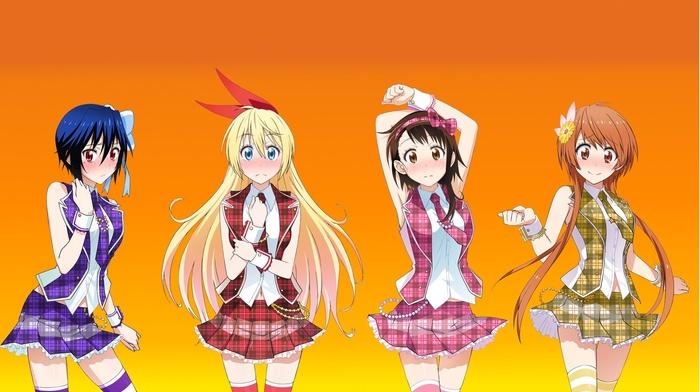 onodera kosaki, anime girls, nisekoi, kirisaki chitoge, tachibana marika, skirt, tsugumi seishirou