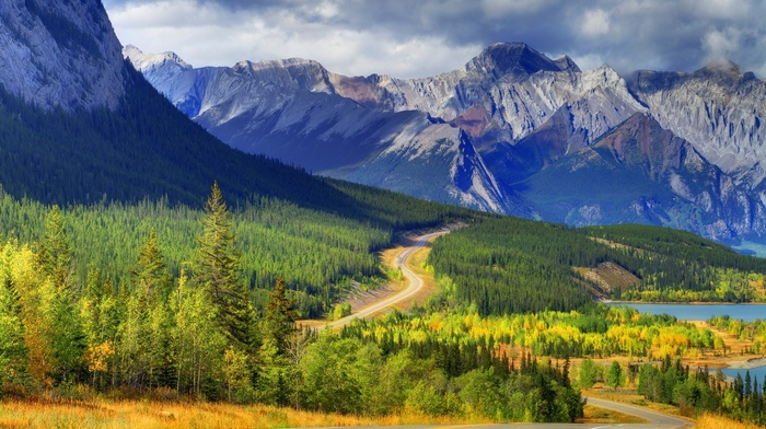 trees, road, nature, lake, landscape, forest, clouds, mountain, Canada