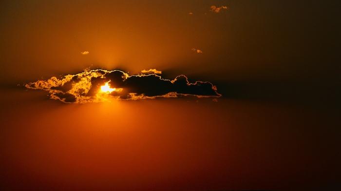 orange, minimalism, clouds, nature, Sun, sunlight, horizon, silhouette