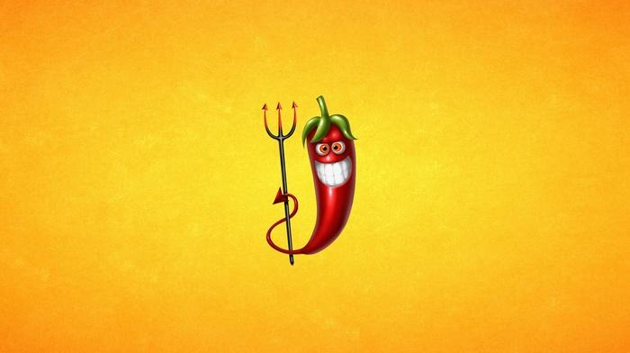 digital art, pitchforks, teeth, chilli peppers, minimalism, yellow background, devils, humor, simple background