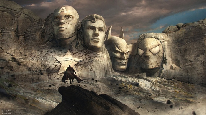 spider, man, sculpture, mountain, artwork, Superman, Batman, DC Comics, Mount Rushmore, superhero, rock formation, Captain America