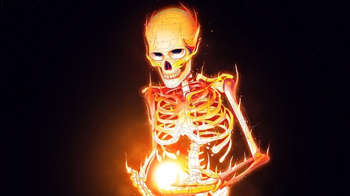 Black Background Skeleton Artwork Burning Digital Art Skull Fire Download Wallpaper
