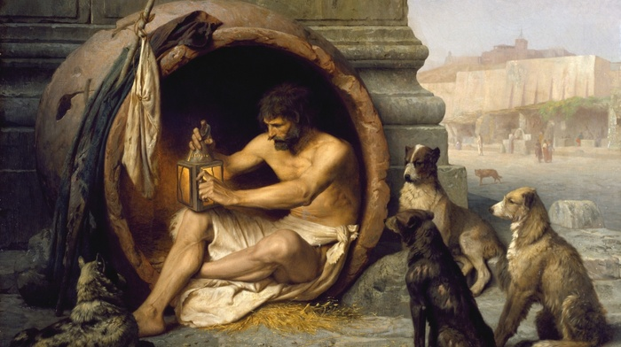 classic art, Cynicism, Jean, Lon Grme, dog, sitting, Greek philosophers, Diogenes, painting