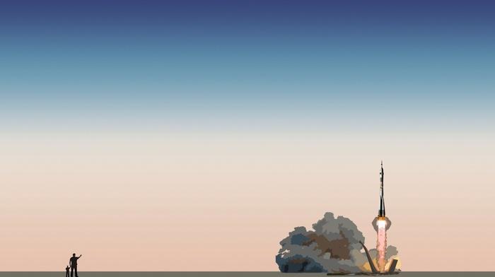 Soyuz, lift off, minimalism, Rocket, rockets