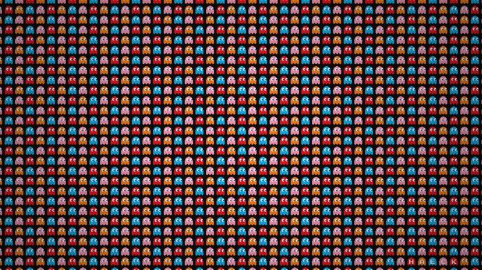 pixel art, Pac, man, pattern, video games, pixels, minimalism, digital art