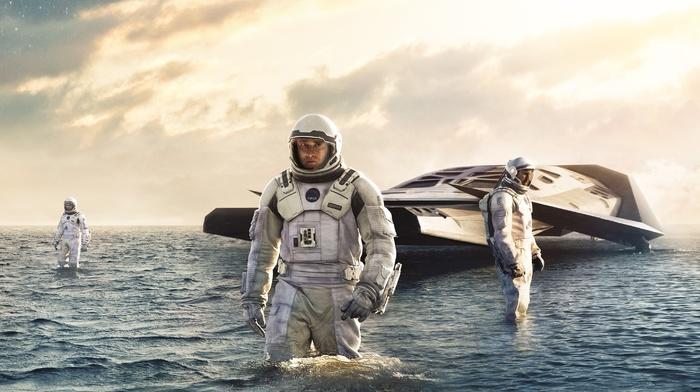 spacesuit, movies, futuristic, science fiction, Matthew McConaughey, Interstellar movie, water