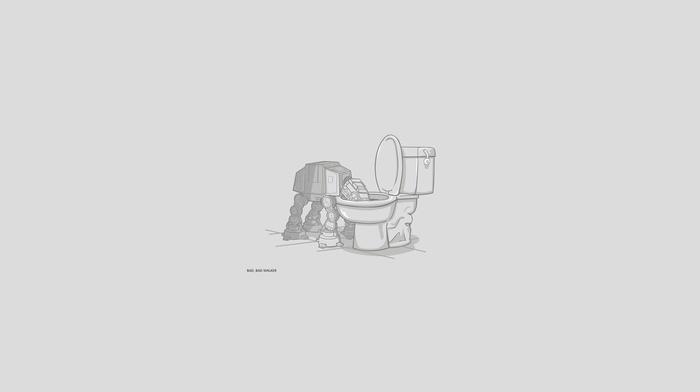 artwork, at, at, gray background, simple background, humor, Star Wars, digital art