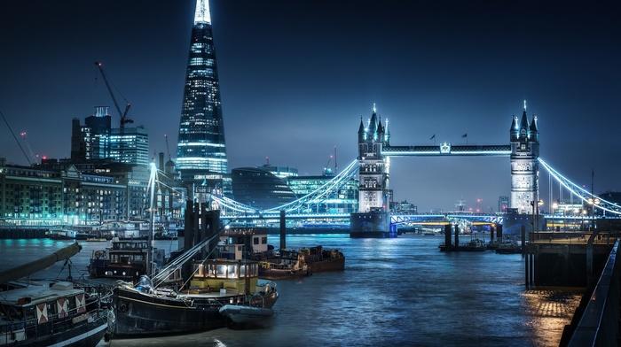 cranes machine, boat, river, skyscraper, London, lights, River Thames, cityscape, London Bridge, city, night, ship, building