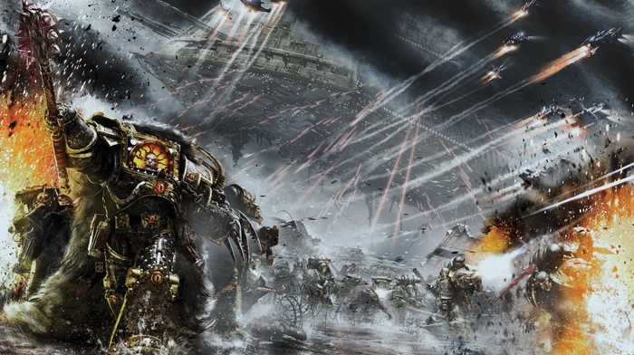 warhammer 40, 000, Horus Heresy, artwork, war, digital art, space marines, science fiction, futuristic