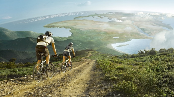 bicycle, photo manipulation, girl, clouds, men, nature, Europe, Africa, landscape, cycling, sea, hill, road