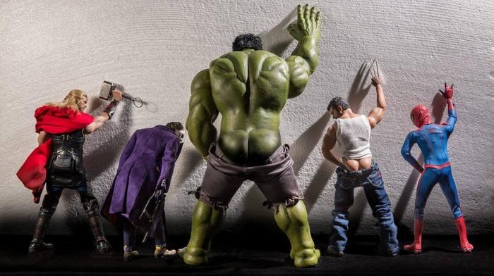 humor, Wolverine, Joker, Hulk, ass, spider, man, superhero, toys