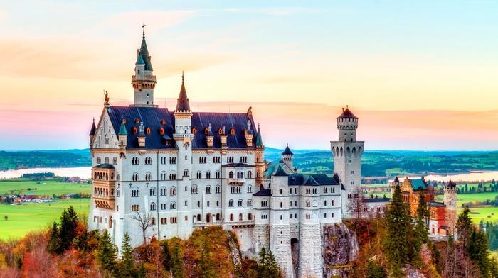 fall, landscape, colorful, architecture, Europe, Neuschwanstein Castle, Germany, castle, nature