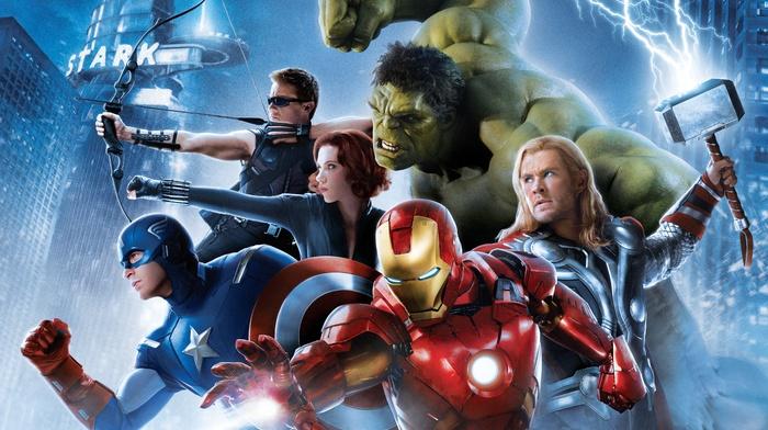 lightning, Scarlett Johansson, Thor, Iron Man, Captain America, Avengers Age of Ultron, superhero, chris evans, Jeremy Renner, Hulk, Chris Hemsworth, Mjolnir, Black Widow, hawkeye, The Avengers