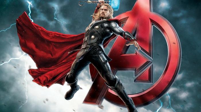 Thor, Avengers Age of Ultron, Mjolnir, superhero, lightning, Chris Hemsworth