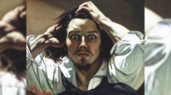 classic art, Gustave Courbet, portrait, painting, typographic portraits