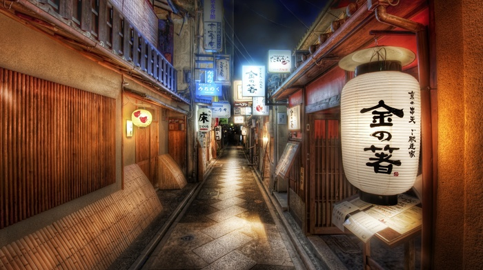 lights, Japanese, cityscape, HDR, street, anime, architecture, city, night, clouds, Japan, bamboo, building
