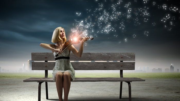 girl, playing, music, clouds, long hair, blonde, photo manipulation, digital art, bench, violin, lights, model, musicians, sitting, cityscape, girl outdoors