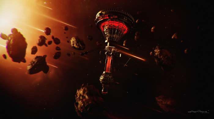 comet, space station, lacza, space, asteroid, science fiction, space art, digital art, glowing