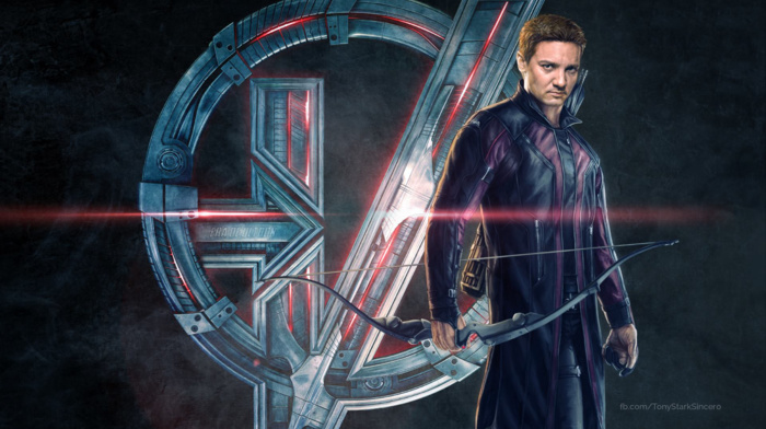 Jeremy Renner, bow and arrow, Clint Barton, Avengers Age of Ultron, symbols, hawkeye, movies, concept art, superhero, The Avengers