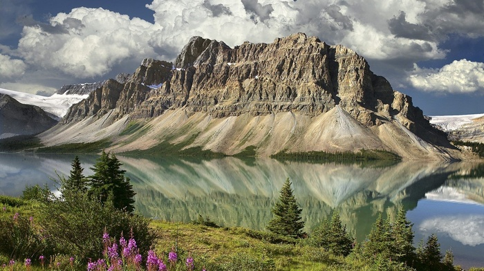 snow, clouds, landscape, reflection, flowers, lake, mountain, trees, nature, Canada